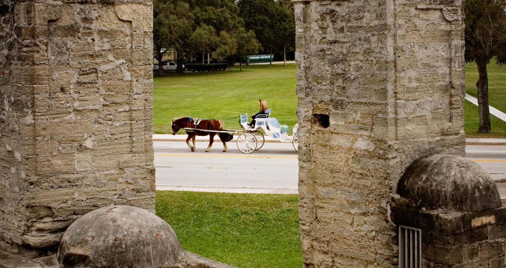 View of Horse and Buggy and the Old City Gates