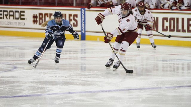 BC Crushes Maine Behind Skarupa's Two Goals