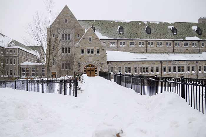 Snow covers Stokes Hall