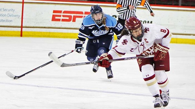 Trivigno, Eagles Hold Off Maine in Opener of Hockey East Quarters