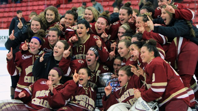 Burt and Trivigno Lead Eagles Past Huskies for Beanpot Title