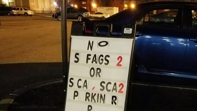 Parking Sign Defaced With Anti-Gay Slur