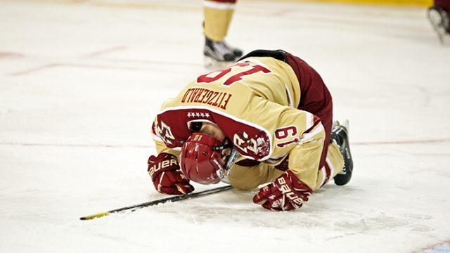 Men's Hockey Falls to Minnesota, Loses Ryan Fitzgerald With Right Ankle Injury