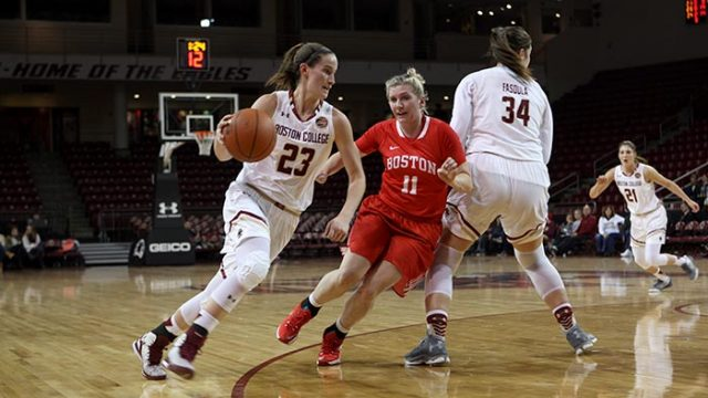 Hughes Becomes BC's All-Time 3-Point Leader in Win Over Boston University