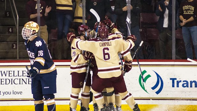 Calnan, Men's Hockey Rally Over Notre Dame in Dramatic Finish