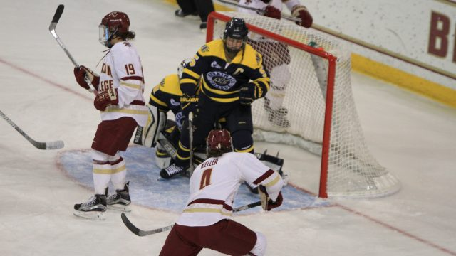 Behind Four-Goal Outburst, Eagles Remain Unbeaten vs. Merrimack