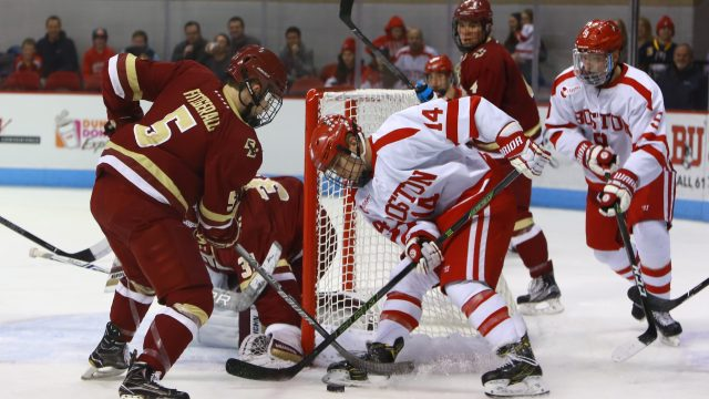 Oettinger, Terriers Put on Defensive Show in 271st Battle of Comm Ave