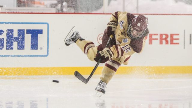Women's Hockey Defeats Harvard at Rain-Soaked Fenway