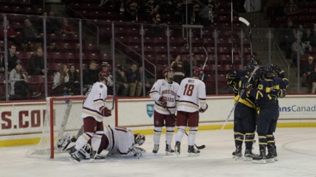 Breakdown in First 10 Minutes Dooms Men's Hockey Against Merrimack