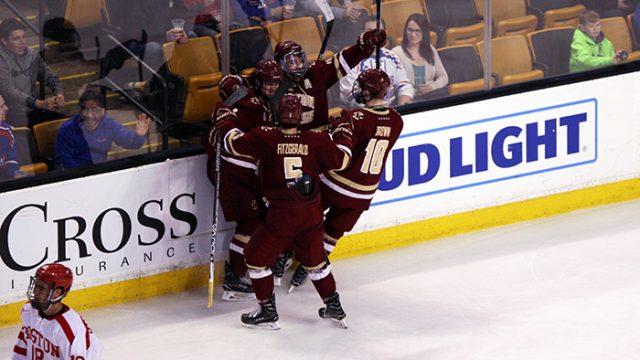 Men's Hockey Keeps Season Alive With Win Over BU in Hockey East Semis