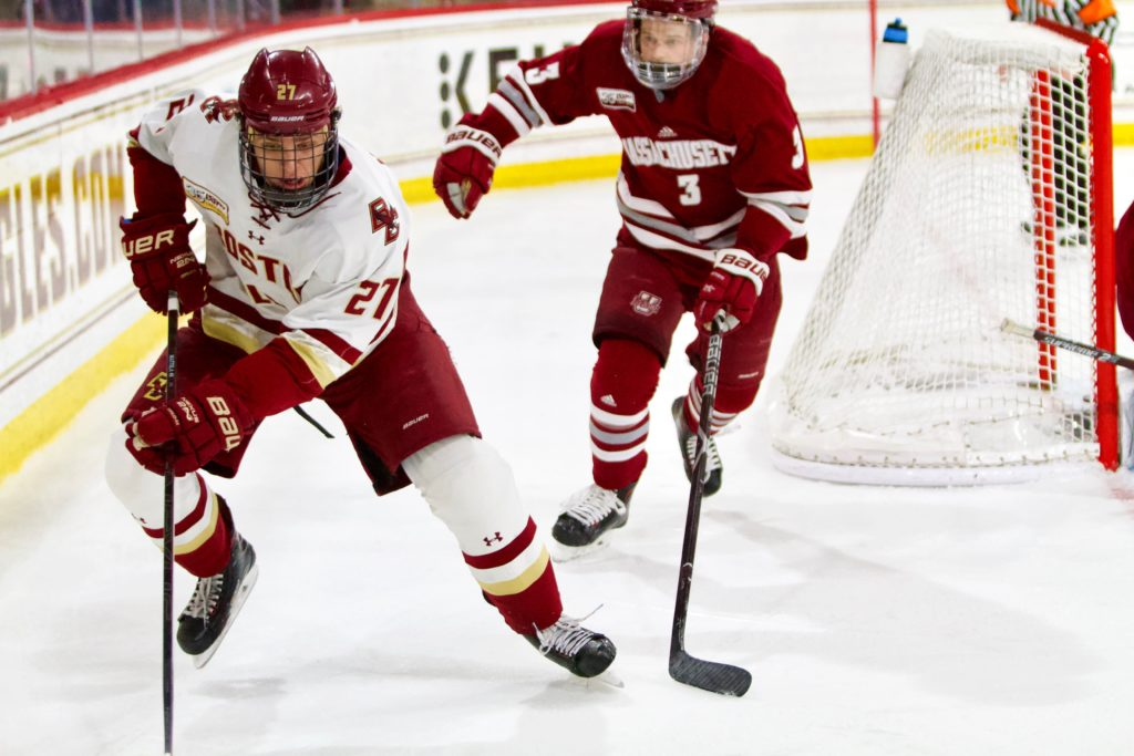 Despite McPhee's Two Goals, BC Swept by Massachusetts