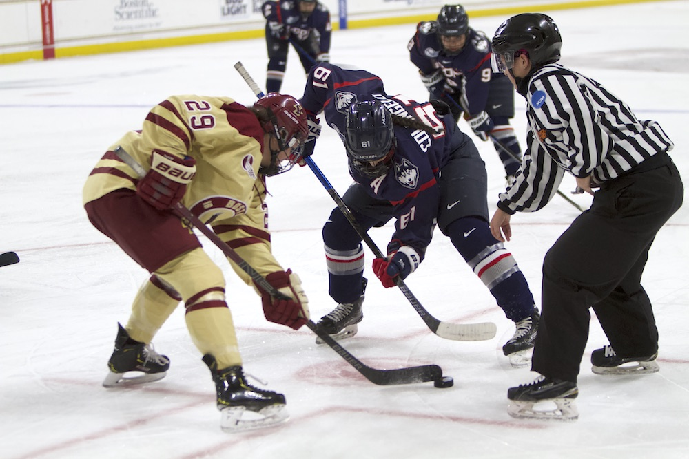 Eagles Pull Away in Third, Take Game 1 of Hockey East Quarterfinals Against UConn