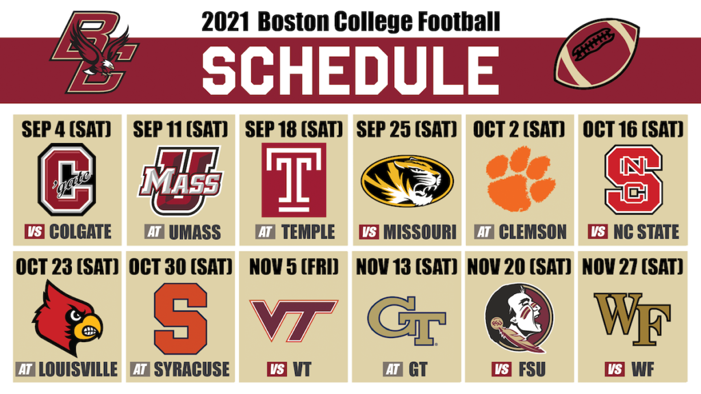 BC Football Releases Full 2021 Schedule