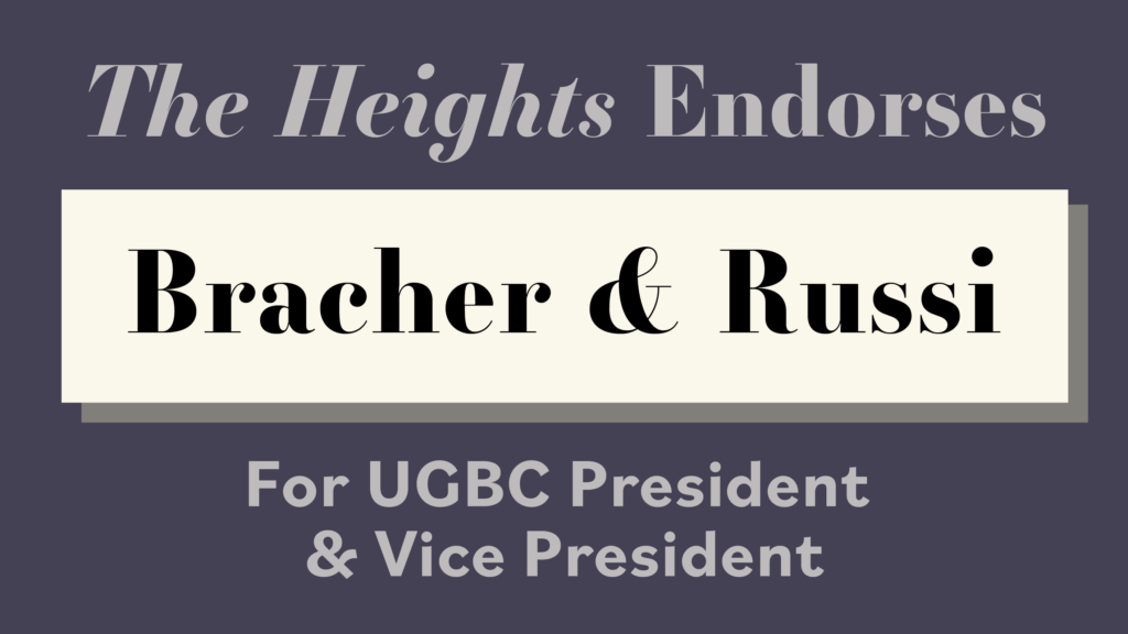 'The Heights' Endorses Jack Bracher and Gianna Russi For UGBC President and Vice President