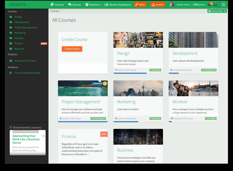 Screenshot of Heights Platform Online Course Builder
