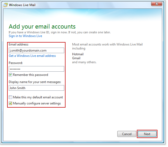 set up business email in windows live mail