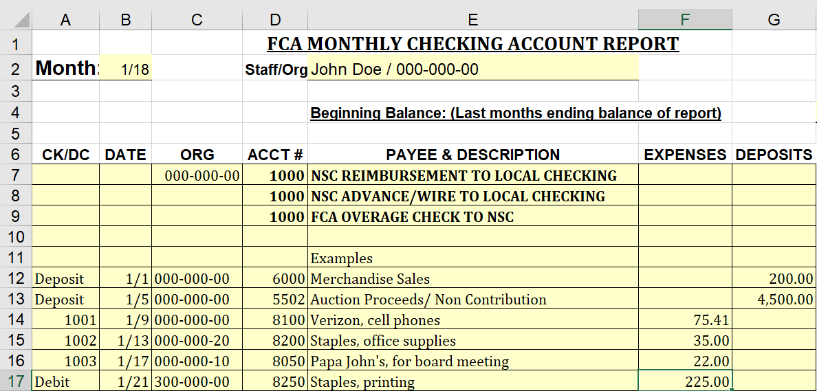 How-to Fill Out the Monthly Checking Account Report