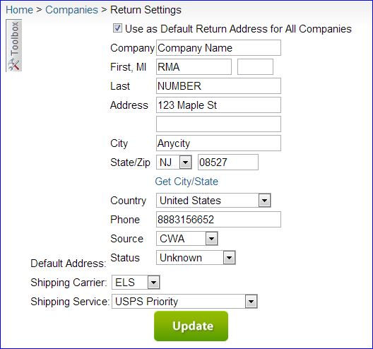 SellerCloud Help Creating an RMA Shipping Label