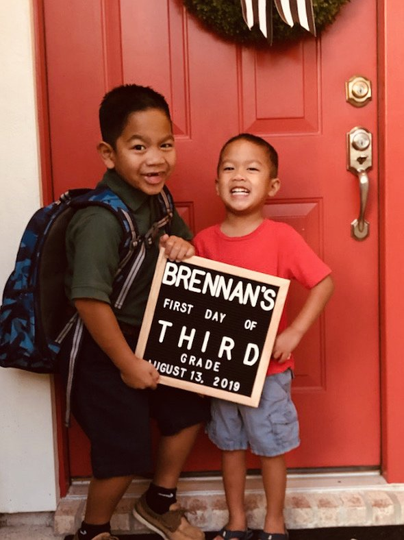 Brennan and Connor - First day of School