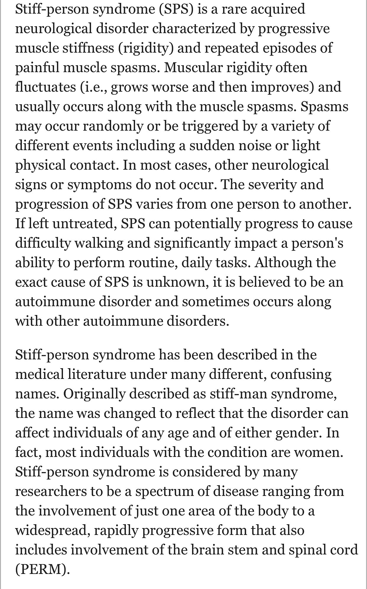What is SPS (Stiff Person Syndrome)?