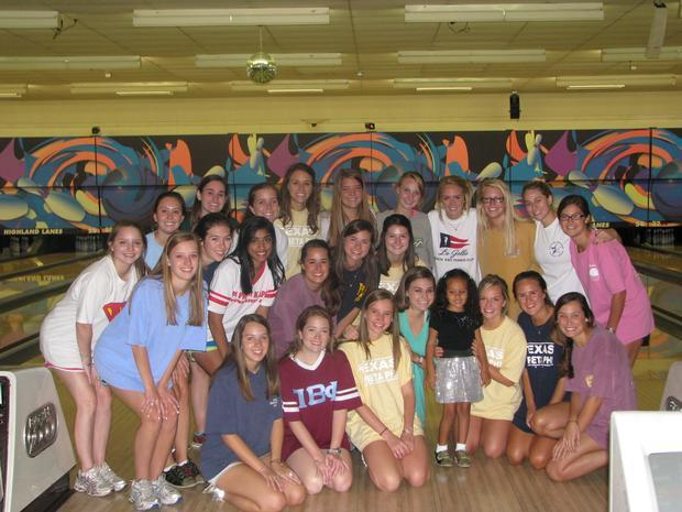 Fundraiser at a local bowling alley. Paulina and the sorrority girls