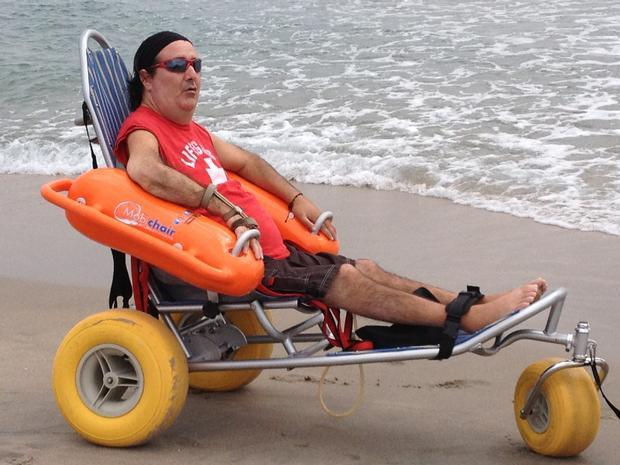 Photos of Eric Trying out the Ocean Wheelchair