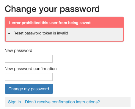 I Cant Reset My Password I Get A Reset Password Token Is Invalid