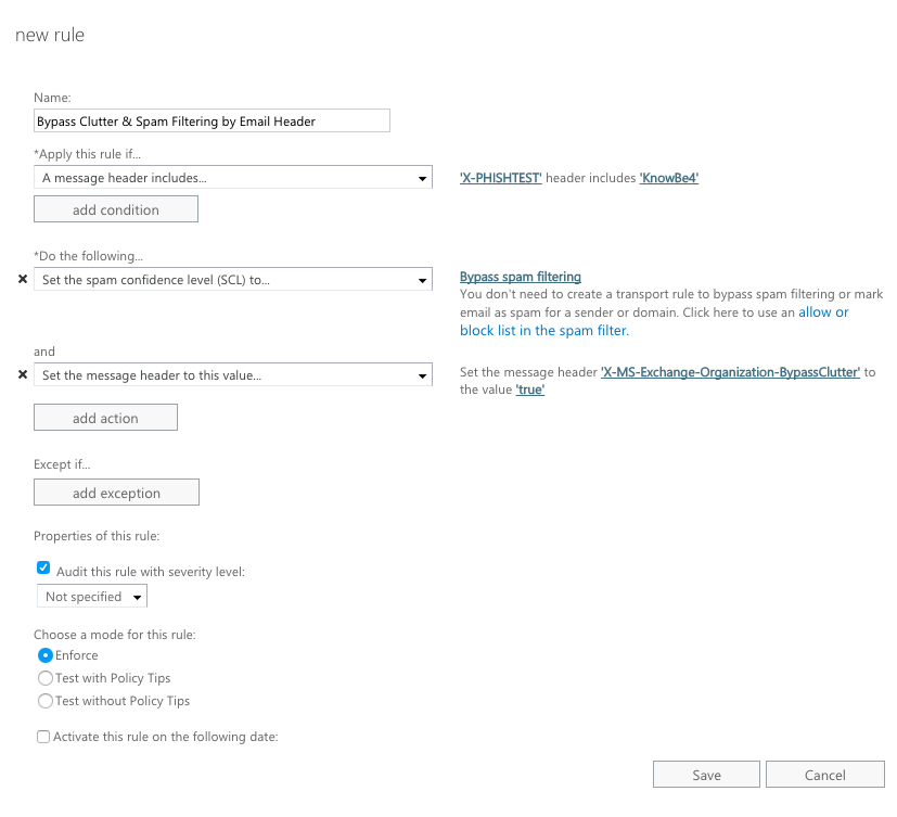 Whitelisting by Email Header in Exchange 2013, 2016, or Office 365