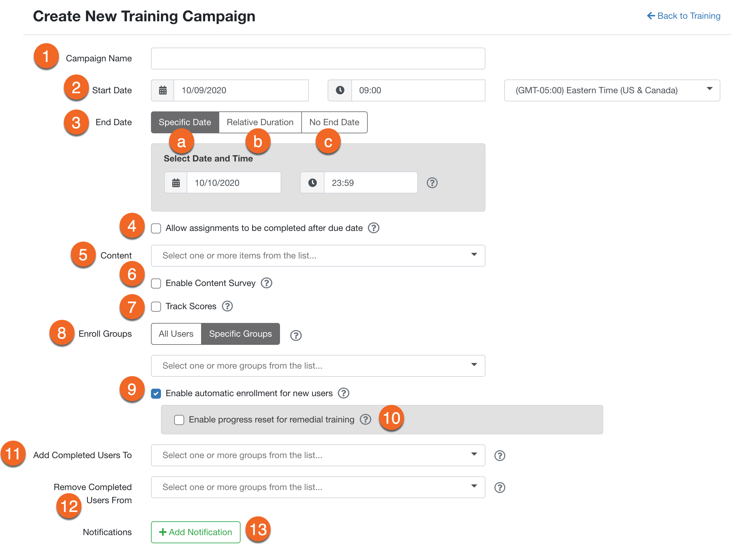 a0bfaa2a948 This can help you keep track of the purpose or scope of the campaign. Note  that enrolled users will be able to see the title of your training ...