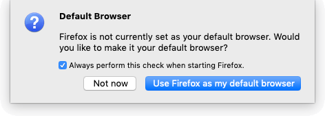 Firefox 72 as Default Browser Mac