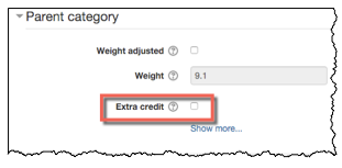 Parent category with extra credit option highlighted