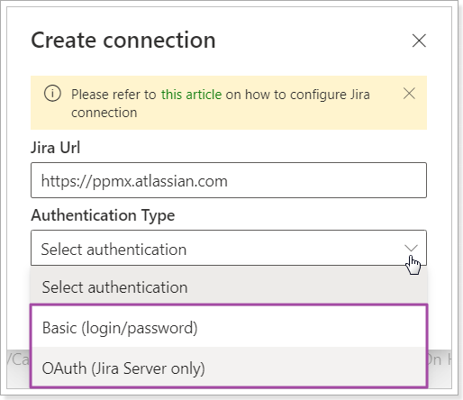 OAuth authentication for Jira Server connection.