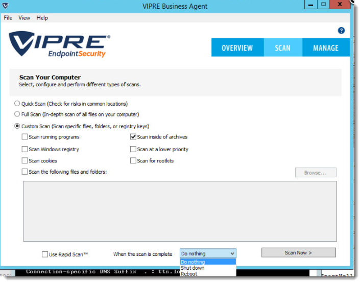 VIPRE Business Agent - Post-scan options
