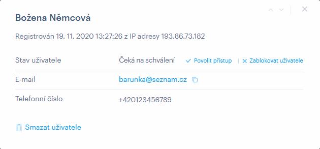 Informace o uživateli