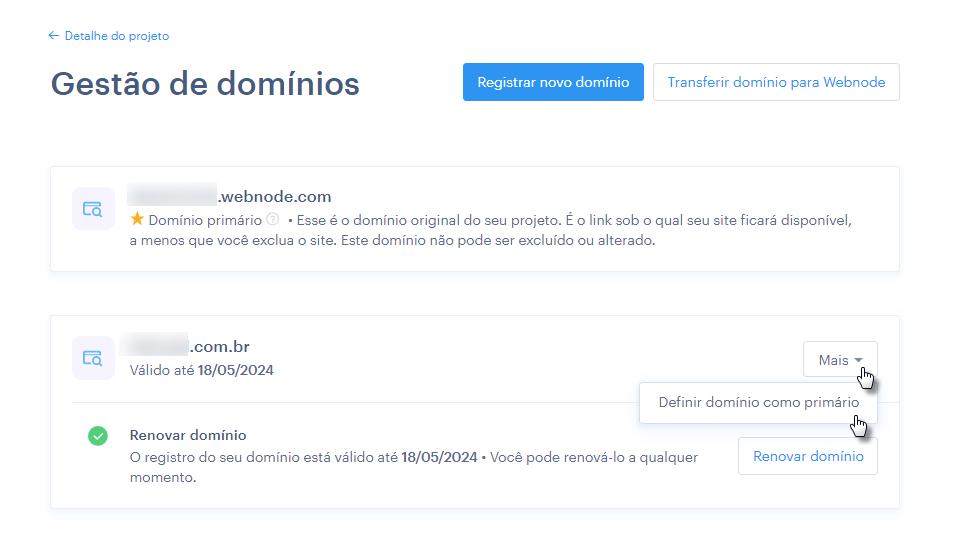 Escolhendo domínio primário do site