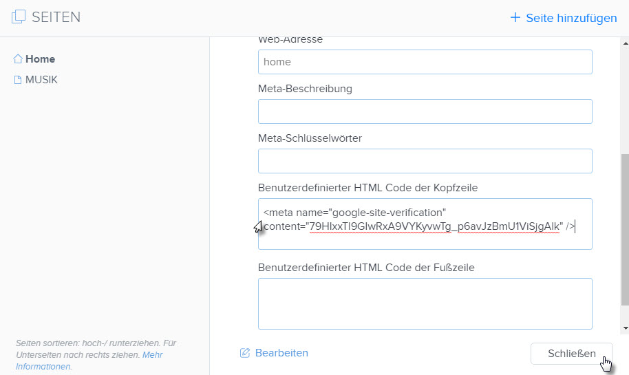 HTML-Code einfügen