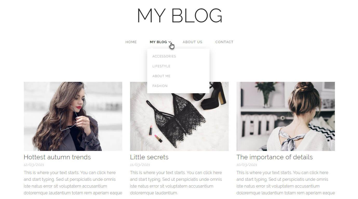 Categories in blog