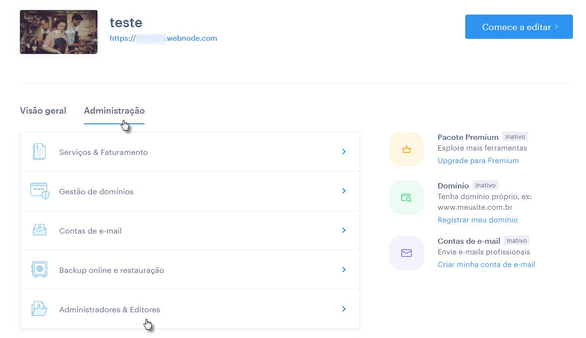 Convidar novo colaborador Webnode