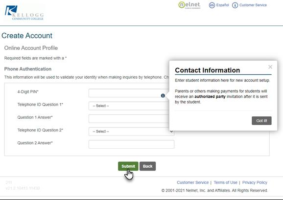 Nelnet Phone Authentication web page image