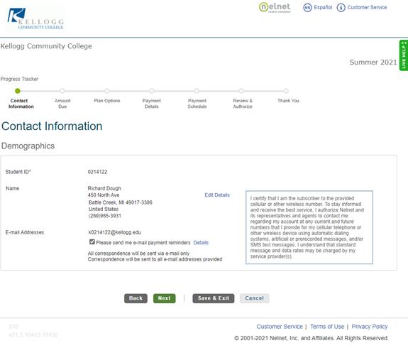 Nelnet Contact information screen image