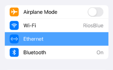 iPad settings Ethernet