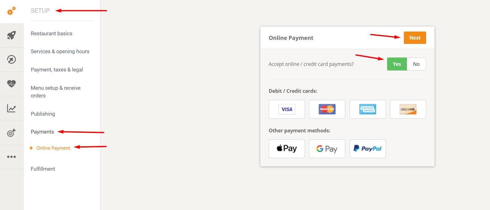 online payments for restaurants