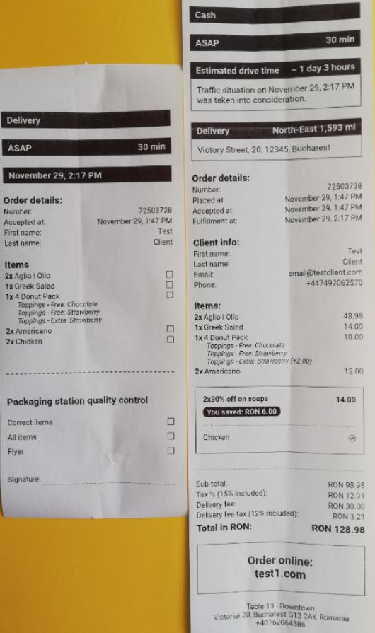 food order printer ticket