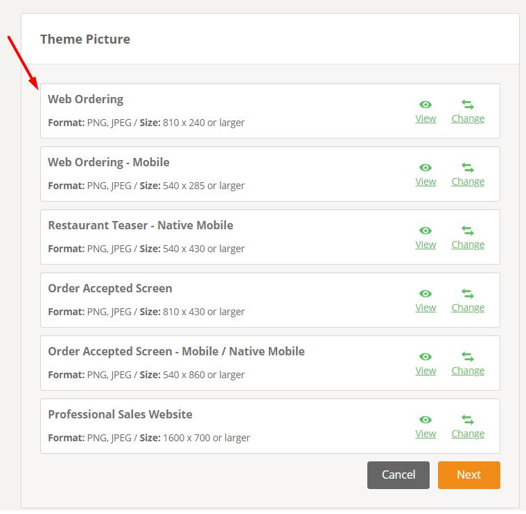 update website menu images