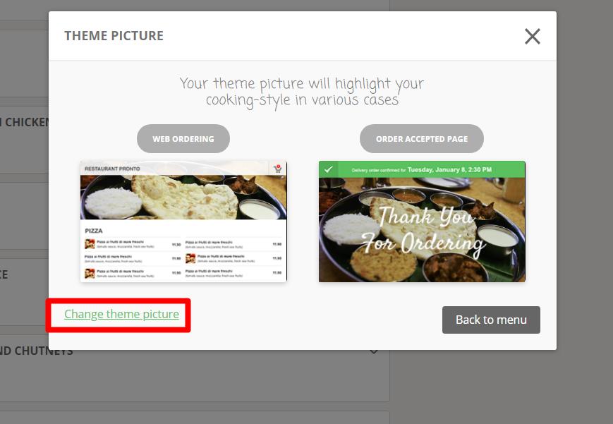 change restaurant menu images