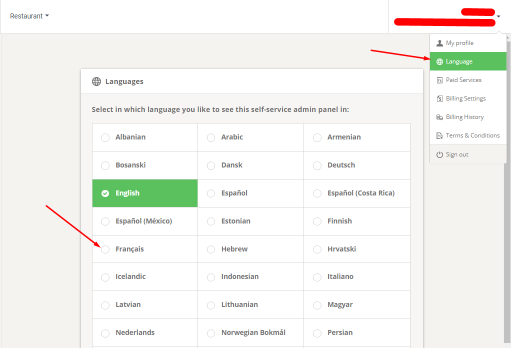 food delivery admin panel language