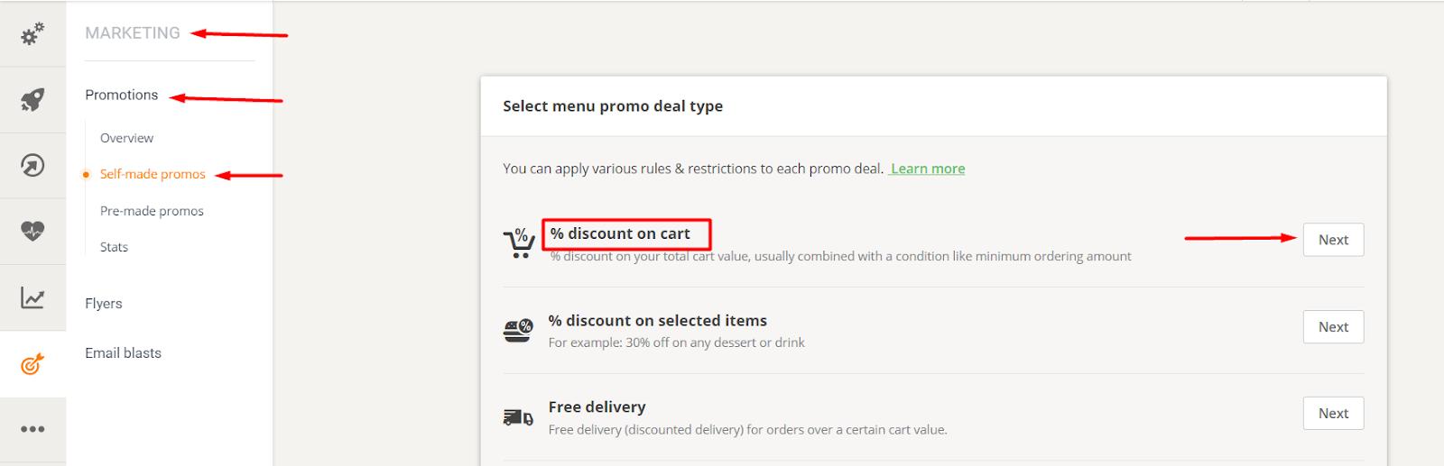 discount cart promotion - restaurant promotion messages