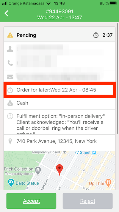 scheduled delivery - order for later