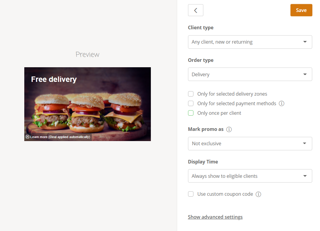 free delivery restaurant promotion