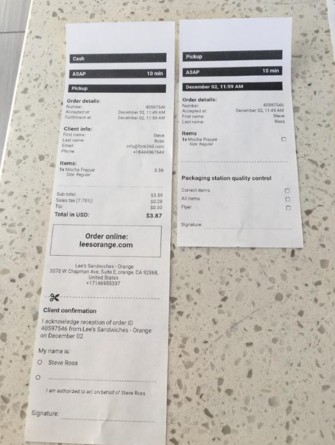 custom receipts